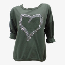 Khaki Jumper With Sequin Heart Detail