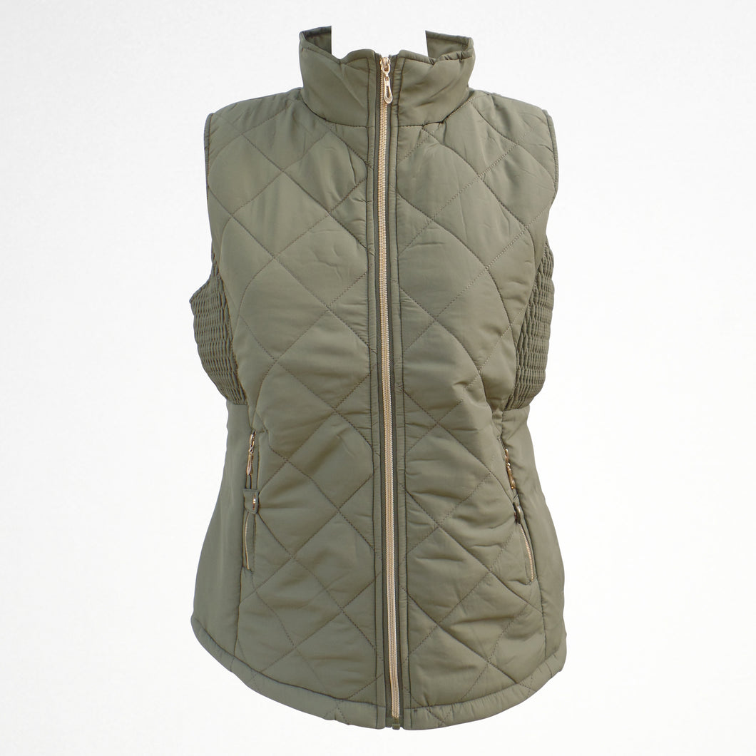Women's Khaki Gilet Jacket With Fleece Lining
