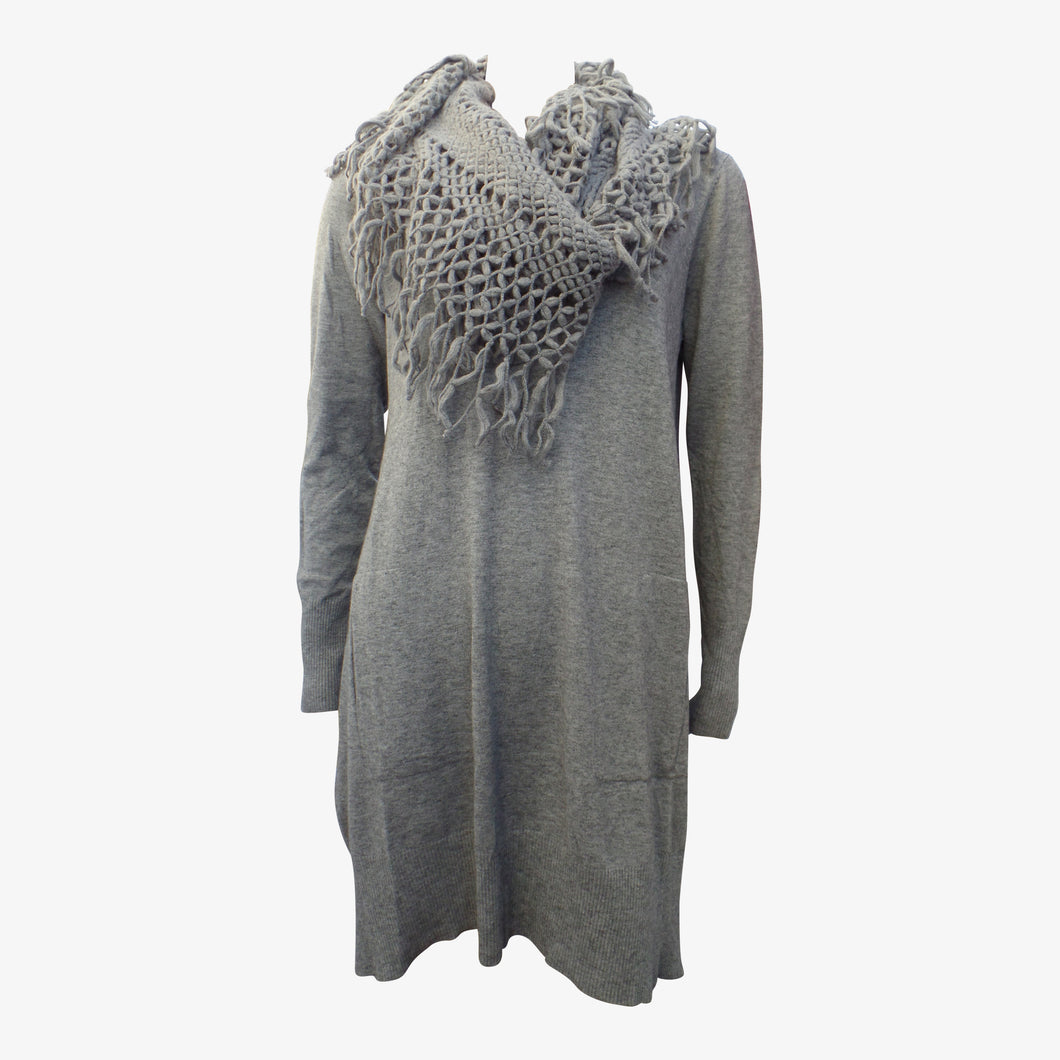 Grey Knitted Dress Top With Wraparound Scarf