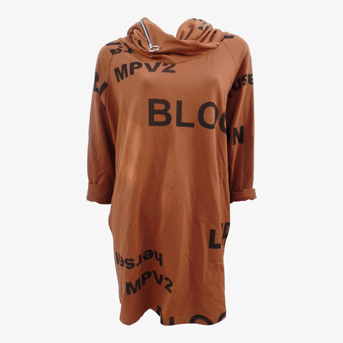 Women's Rust Text Print Hooded Top