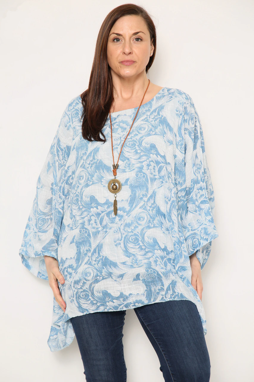 Breeze Light Blue Floral Print Top with Necklace