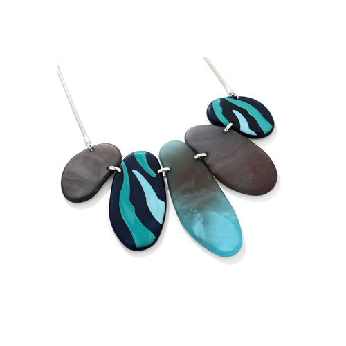 Mixed Blue Pebble Effect Necklace