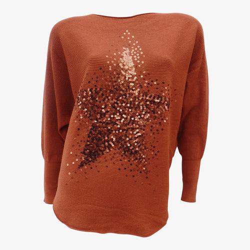 Rust Orange Sequin Star Jumper