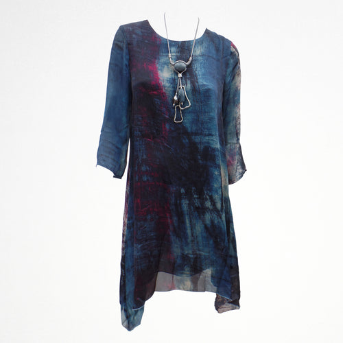 Blue Abstract Dress with Necklace