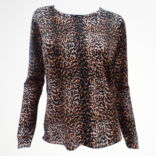 Brown Leopard Print Jumper with Sequins