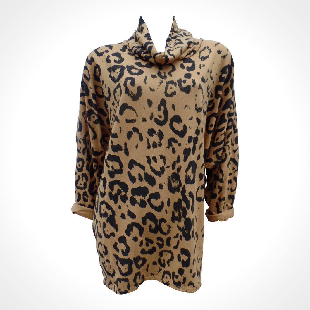 Women's Mustard Leopard Print Long Top