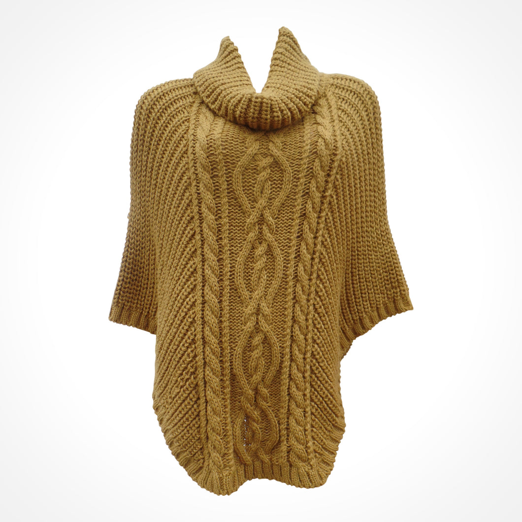 Mustard Cable Knit Cape