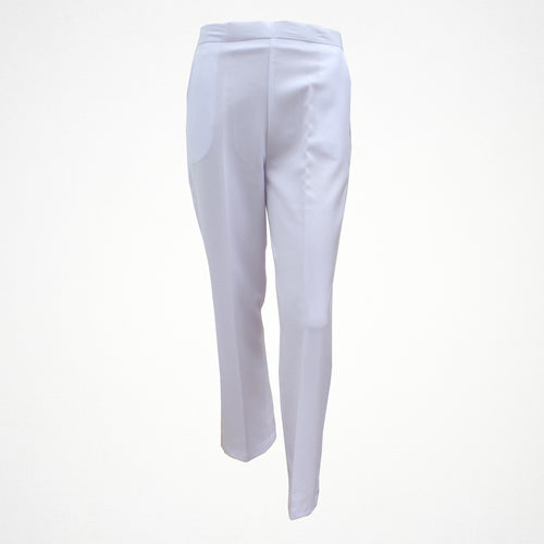 White Tapered Trouser With Elasticated Back