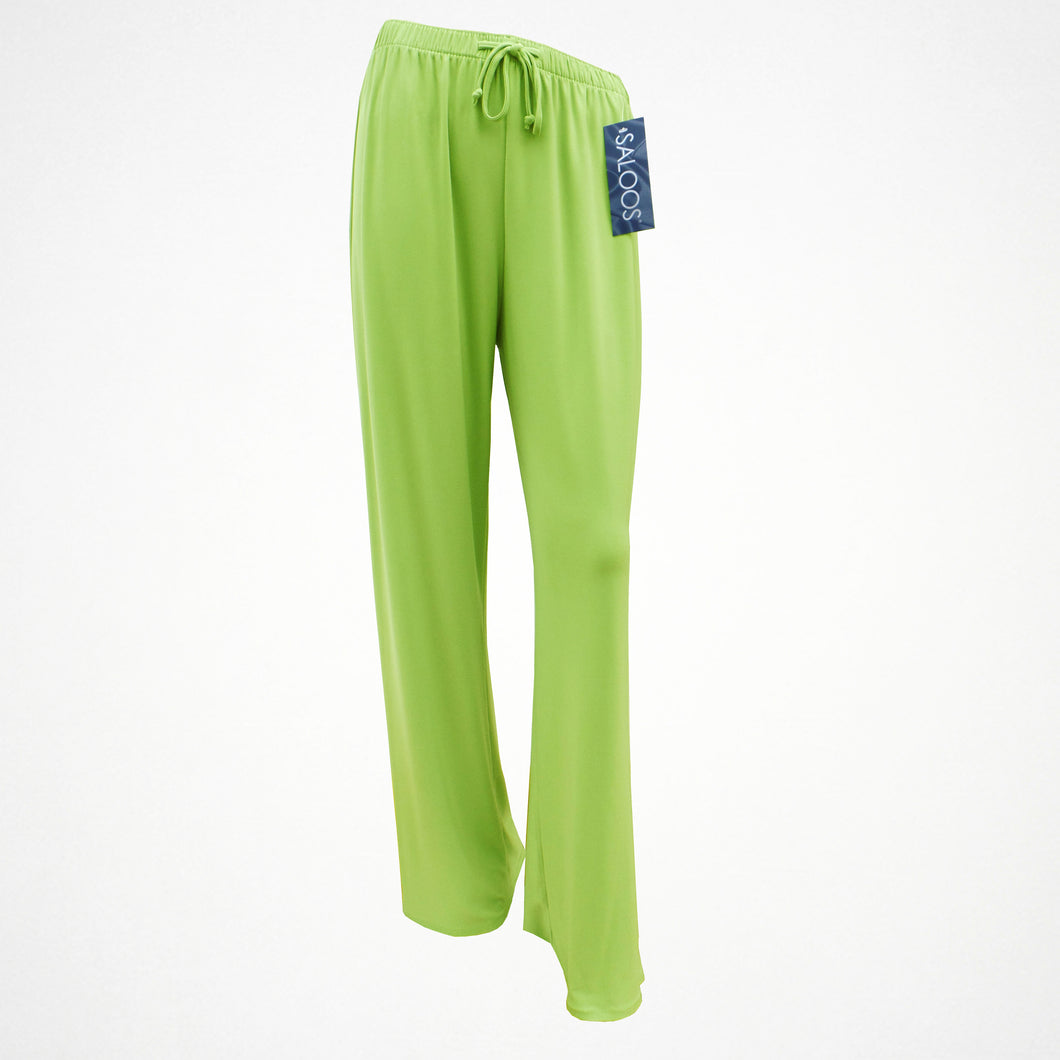 Lime Green Silky Look Elasticated Trousers in Sizes 12-24