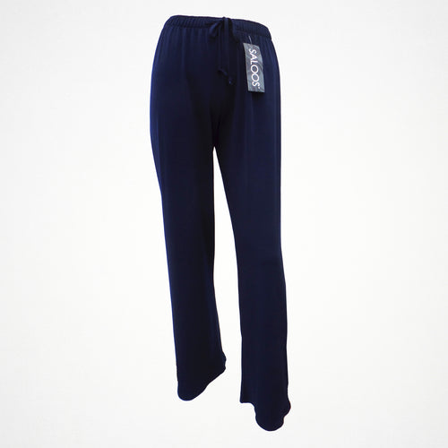 Navy Silky Look Elasticated Trousers in Sizes 12-24