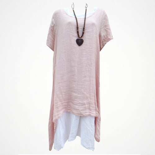 Light Pink Layered Linen Side Split Dress with Necklace