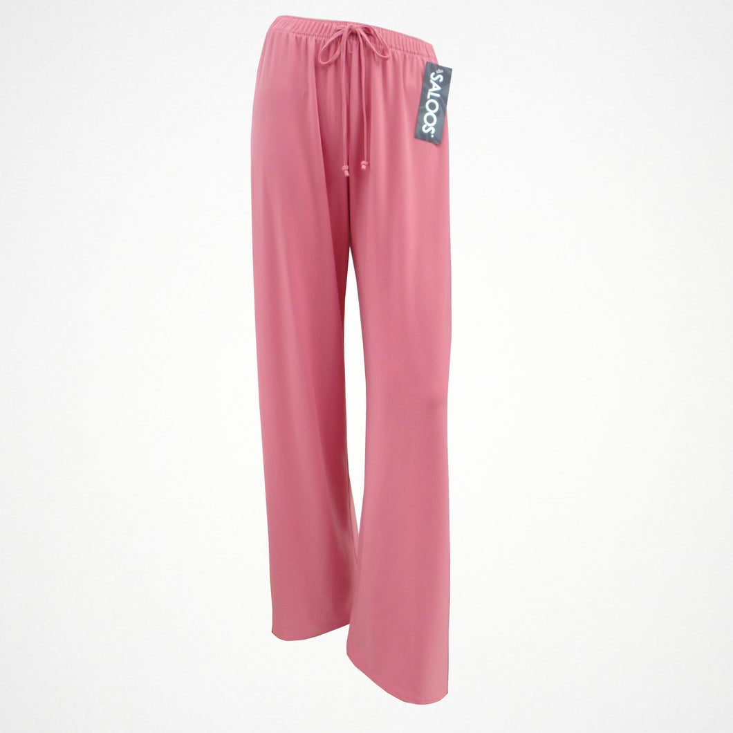 Pink Silky Look Elasticated Trousers in Sizes 12-24