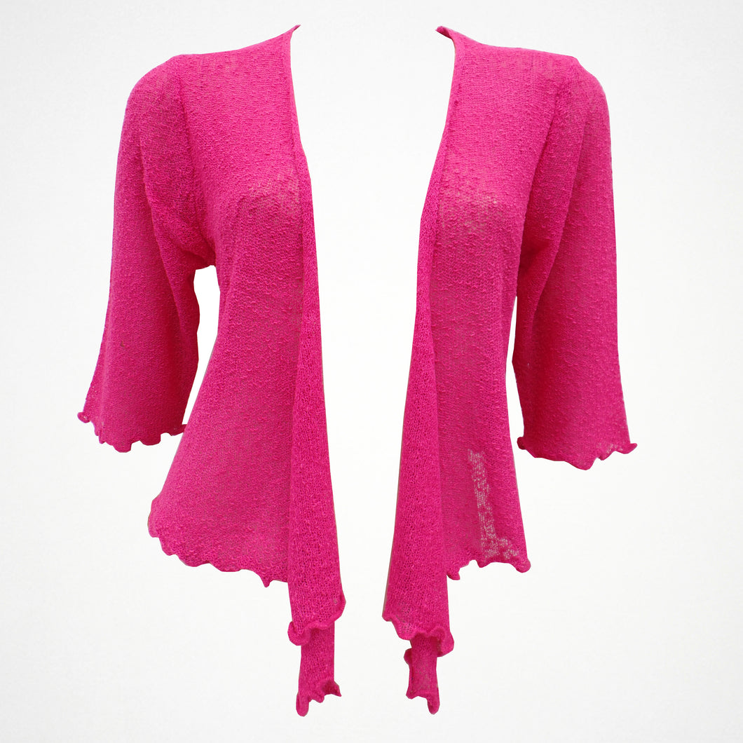 Pink Plain Shrug With Tie Front