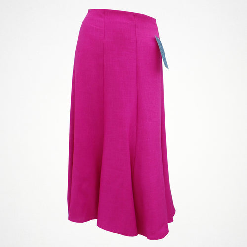 Plain Pink Linen Skirt With Elasticated Back