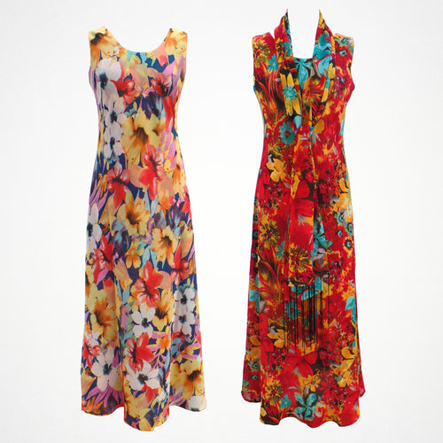 Floral Print Reversible Maxi Dress With Scarf