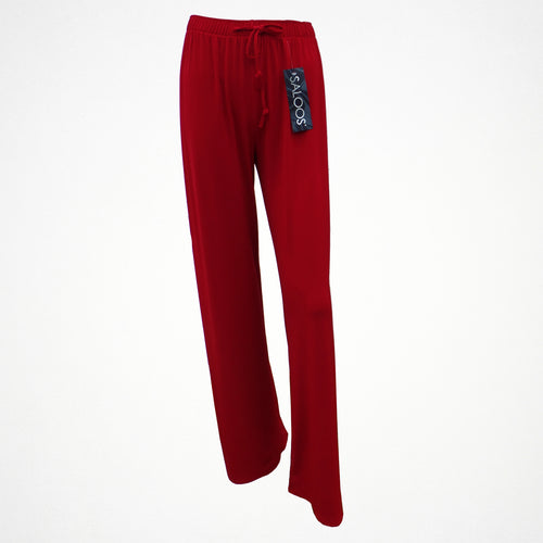 Red Silky Look Elasticated Trousers in Sizes 12-24