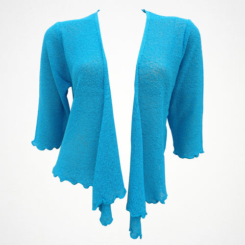 Turquoise Plain Shrug With Tie Front