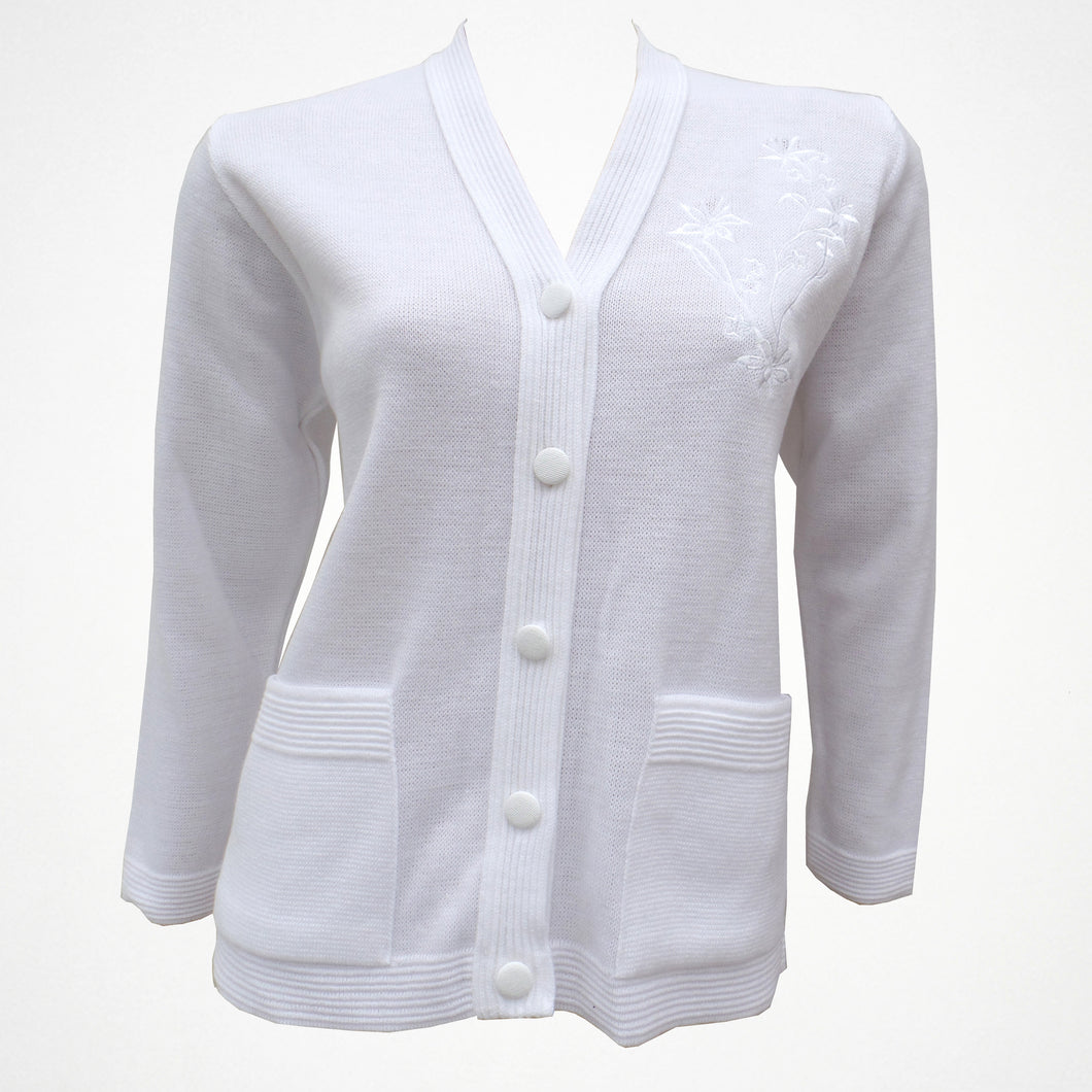 White Knitted Warm Cardigan with Flower Embellishment on Chest