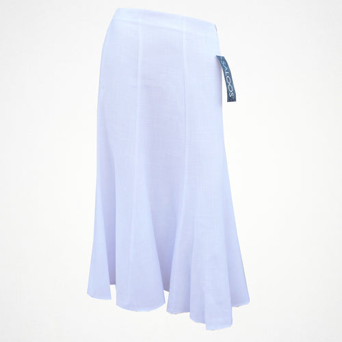 Plain White Linen Skirt With Elasticated Back