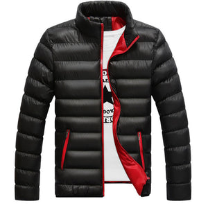 Plain Zipper Polyester Stand Collar Men's Down Coat