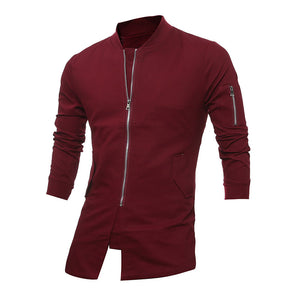 Stand Collar Zippered Cotton Blends Plain Men's Jackets Coat