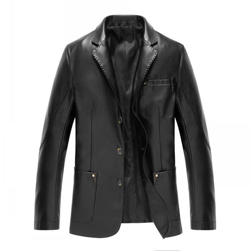 PU Polyester Lapel Casual Plain Men's Leather Coat