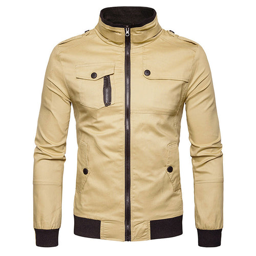 Cotton Blends Plain Pocket Epaulet Men's Jackets Coat
