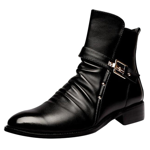 Pleated Patchwork Plain Men's Boot