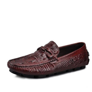 Alligator Pattern Real Leather  Comfort Casual Shoes
