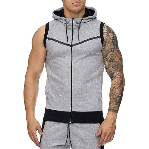 Sleeveless Hoodie Cotton Blends Men's T-shirt