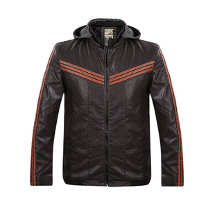 Striped Long Sleeve Hooded Comfortable Men's Pleather Coat