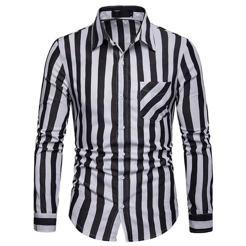 Stripe Casual Long Sleeves Cotton Blends Men's Shirts