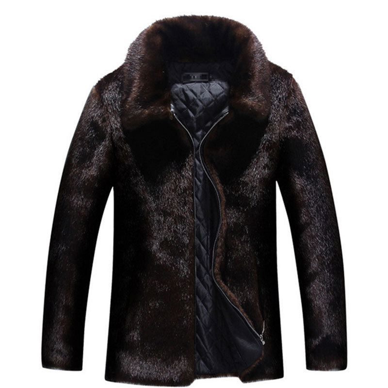 Pure Color Long Sleeve High Collar Men's Coat
