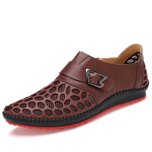 Real Leather Hollowed-out Mesh Shoes