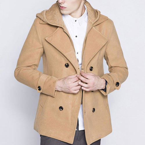 Pure Color Double-Breasted Men's Trench Coat