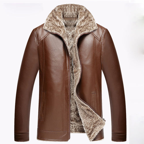 PU Stand Collar Zippered Thicken Casual Men's Leather Coat