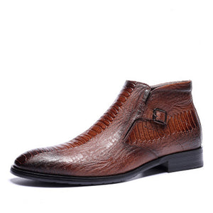 Croco Leather Zipper Men's Formal Shoes
