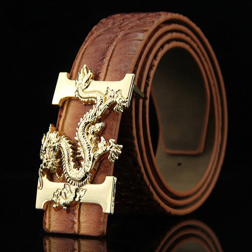 Alligator Pattern Smooth Buckle Belt