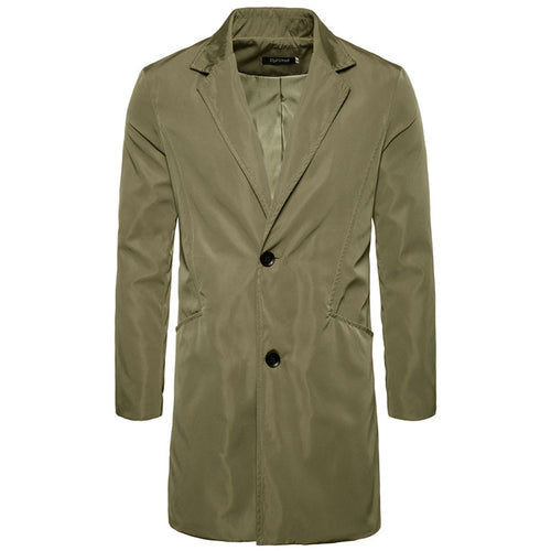 Button Pure Color Plus Size Cotton Blends Men's Trench Coat