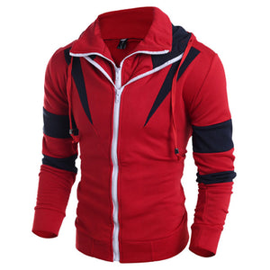Color-blocked Turn-down Collar Men's Jacket