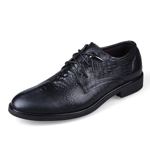 Leather Lace Up Croco Men's Formal Shoes