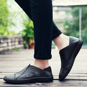Round head Breathable Leather Men's Shoes
