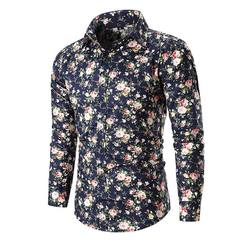 Printed Long Sleeves Cotton Casual Men's Shirt
