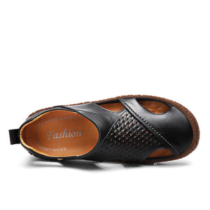 Cow Leather Breathable and Hollowed-out Casual Shoes