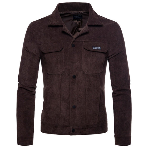 Corduroy Plain Lapel Slim Single-Breasted Men's Jackets Coat