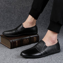 Black Cow Leather Machine Sewing Thread Point Toe Men's Casual Shoes