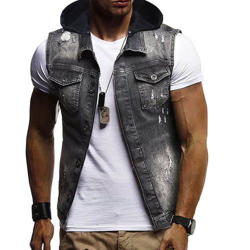 Broken Button Cap Sleeveless Men's Coat
