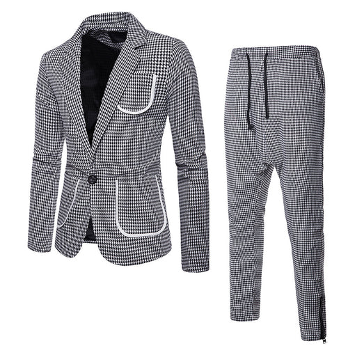 Houndstooth Comfortable Regular Lapel Men's Suit