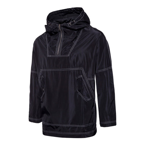 Cotton Blends Hooded Zippered Geometric Loose Men's Jackets Coat