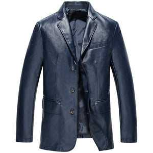 Smooth England Vintage Long Sleeve Men's Pu Leather Coat